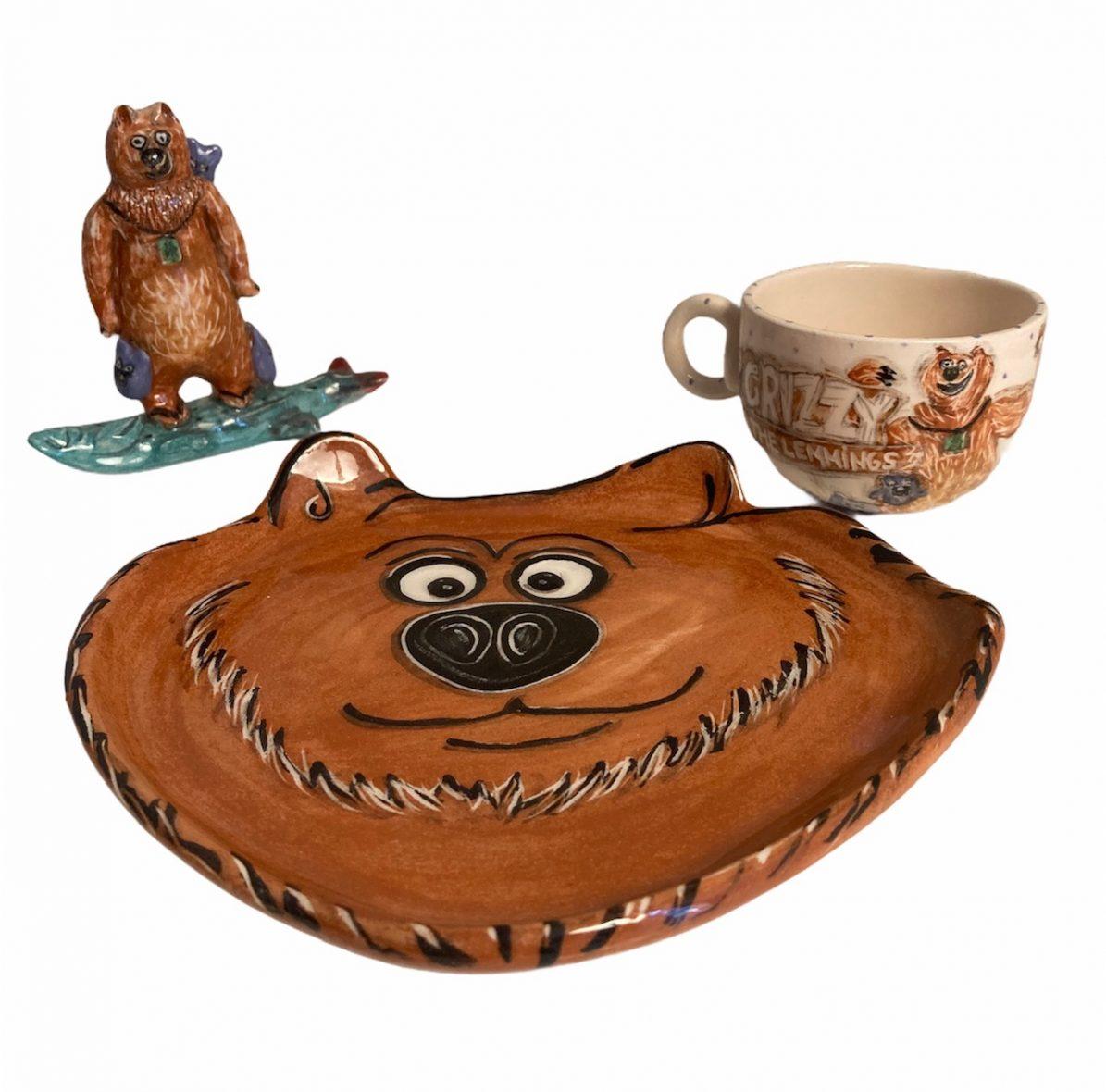 Grizzy ve Lemmingler Seramik Çocuk Kahvaltı Seti-1