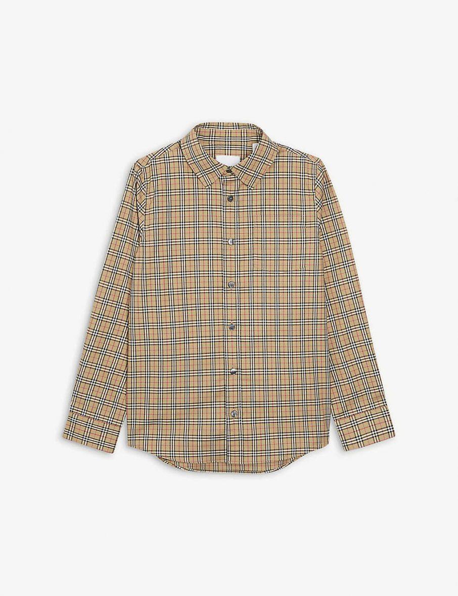 Burberry – Owen kareli pamuklu gömlek 3-14 yaş