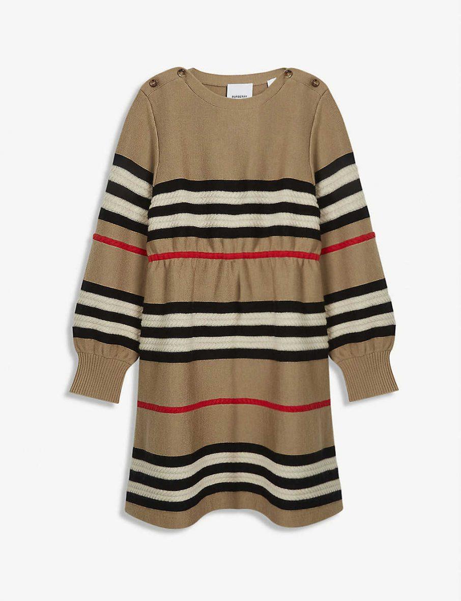 Burberry – Leeta çizgili yün ve kaşmir elbise 8-14 yaş