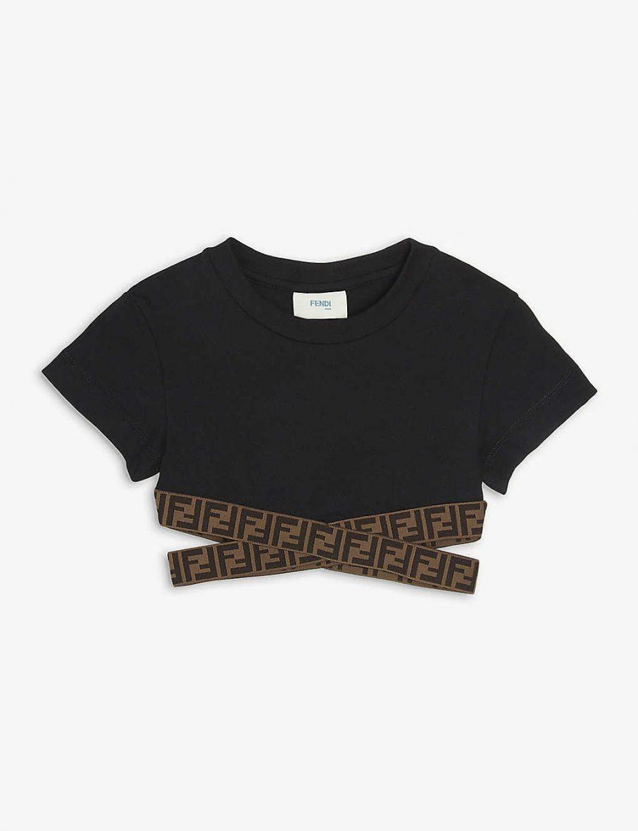 Fendi – Logo şeritli kısa pamuklu Kız Çocuk jarse üst 6-14 yaş
